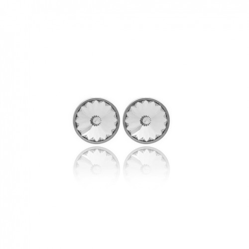 Round silver earrings Victoria Cruz clear crystals A2791-7T
