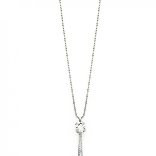Victoria Cruz silver pendant with clear crystal double stick A3283-7G