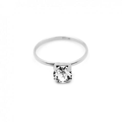Victoria Cruz silver ring with round Swarovski crystal A3284-7A