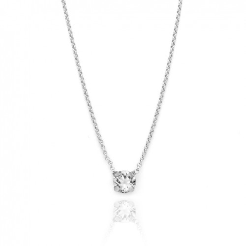 Victoria Cruz silver necklace and Swarovski crystal A3289-7G