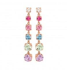 Victoria Cruz silver earrings multicolor Swarovski crystals A3293-MT