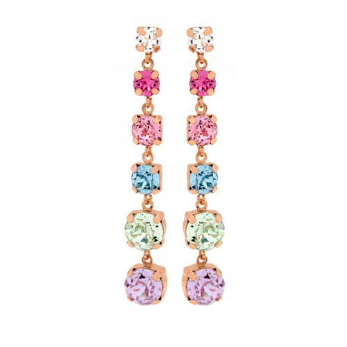 Victoria Cruz silver earrings multicolor Swarovski crystals A3293-MT