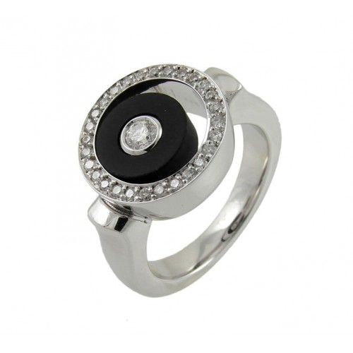 Ring gold white diamonds and Onyx A5300