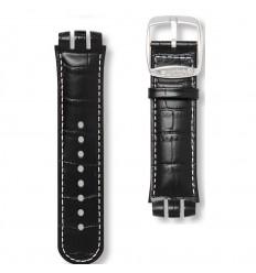 Black leather strap white stitching Swatch Dark Emir AYNS407 Irony Nabab 21mm