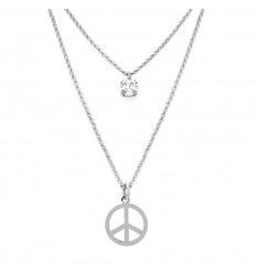 Victoria Cruz doble necklace Swarovski crystals Peace symbol A3363-RHG