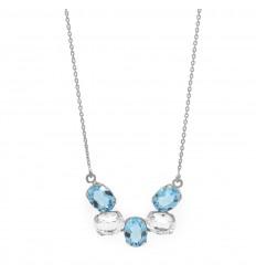 Victoria Cruz necklace 5 oval crystals and aquamarine A3391-10G