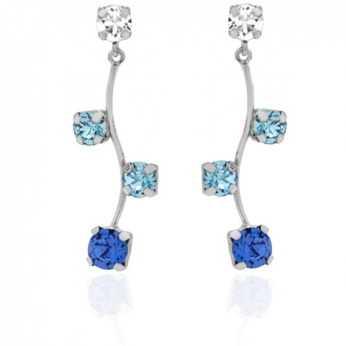 Victoria Cruz silver earrings with four Swarovski crystals A3393-8T