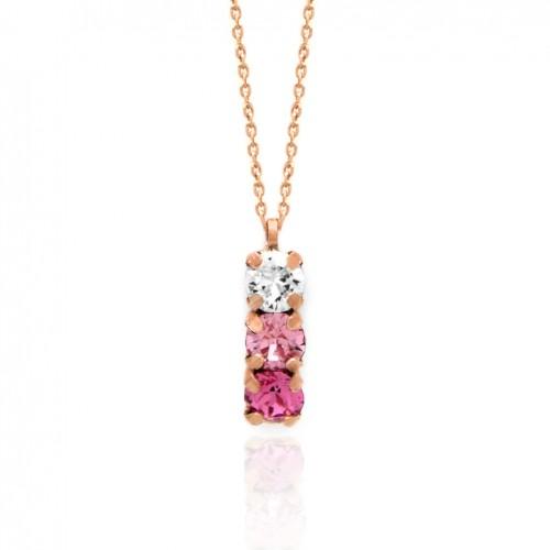 Victoria Cruz silver necklace 3 crystals in pink tones A3402-36G