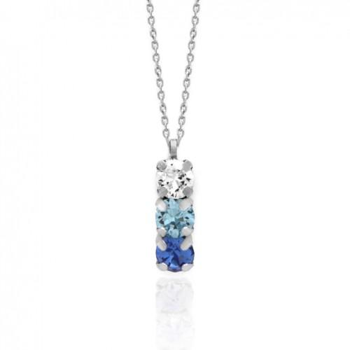Victoria Cruz silver necklace 3 crystals in blue tones A3402-8G