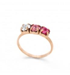 Victoria Cruz silver ring with 3 Swarovski crystals in pink A3405-36A