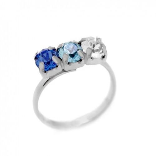 Victoria Cruz silver ring with 3 Swarovski crystals in blue A3405-8A
