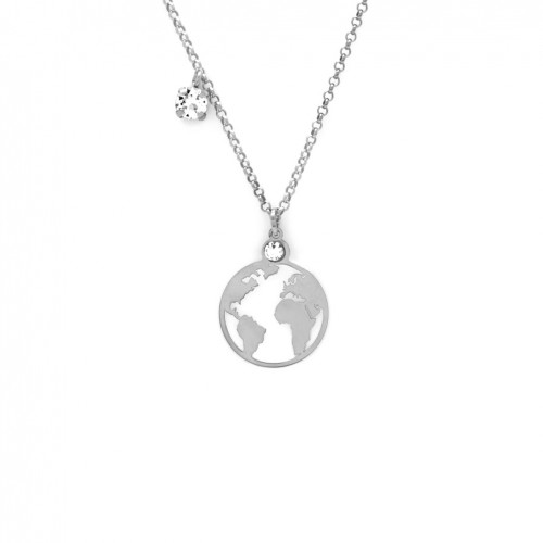 "Victoria Cruz silver pendant ""The world"" Swarovski crystal A3411-RHG"