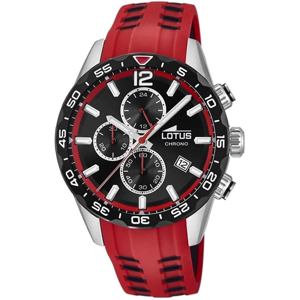 03169f93e6da Reloj Lotus Chrono Color 18590 3 Esfera negra correa silicona roja