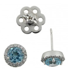 Earrings in gold white diamonds and Topaz blue B10016
