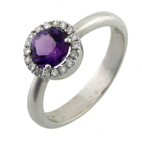 Ring gold white diamonds and Amethyst A10008