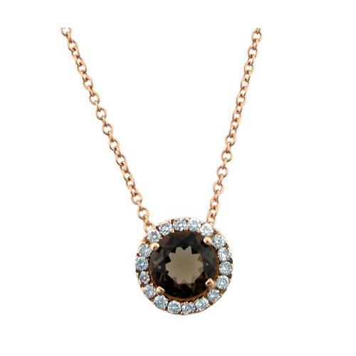 Fumé pendant gold pink Topaz and diamond C10265