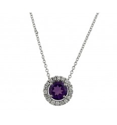 Pendant white gold amethyst and diamond C10488