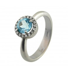 Ring gold white diamonds and Blue Topaz A10001
