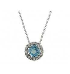 Pendant white gold Blue Topaz and diamond C10366