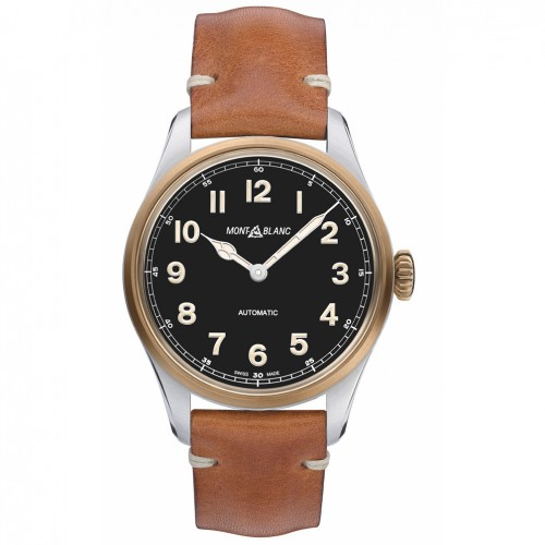 Montblanc Watch 1858 automatic Black dial Brown leather strap