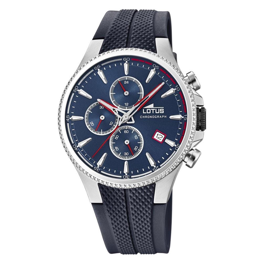 87151872a948 Reloj Lotus Cronógrafo hombre 18621/1 Esfera azul correa caucho azul