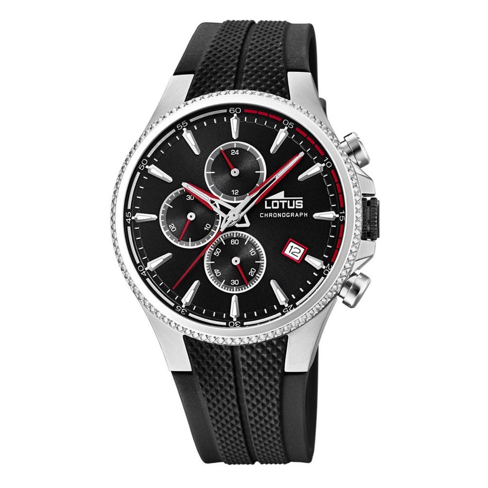 bda504a73a4f Reloj Lotus Cronógrafo hombre 18621 2 Esfera negra correa caucho negra