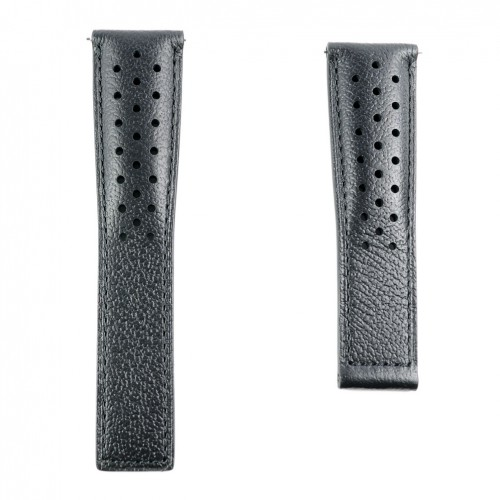 Perforated black leather strap TAG Heuer Monaco FC6241 22mm