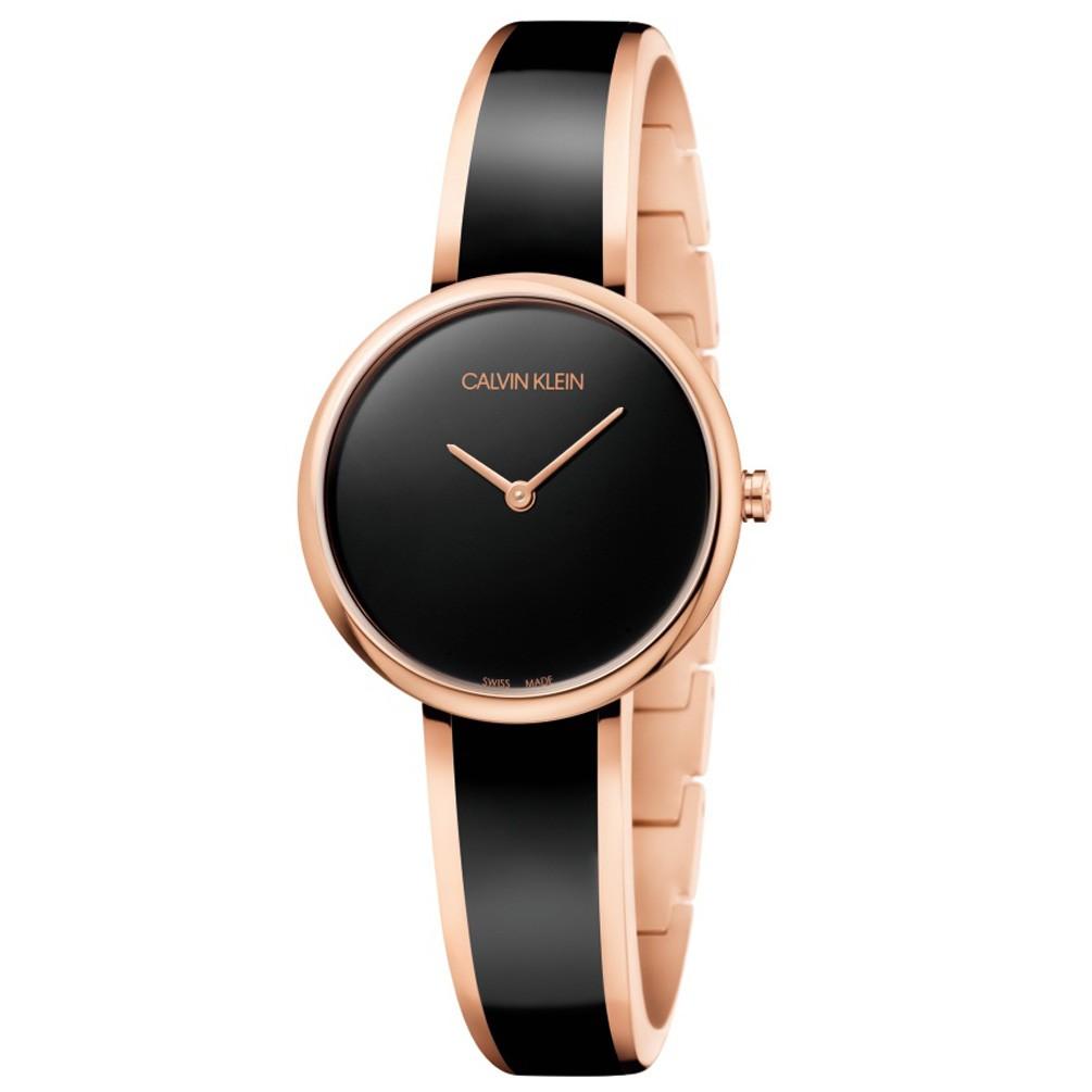Reloj Calvin Klein mujer SEDUCE K4E2N611 Acero oro rosa Esfera negra 202e02a7d540