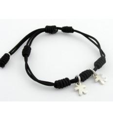 Bracelet silver black knots Inson children BR502IN03