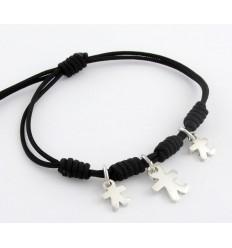 Bracelet silver black knots Inson children BR502IN04