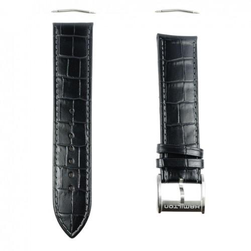 Black leather strap Hamilton Jazzmaster chrono Auto 22mm H600.326.104