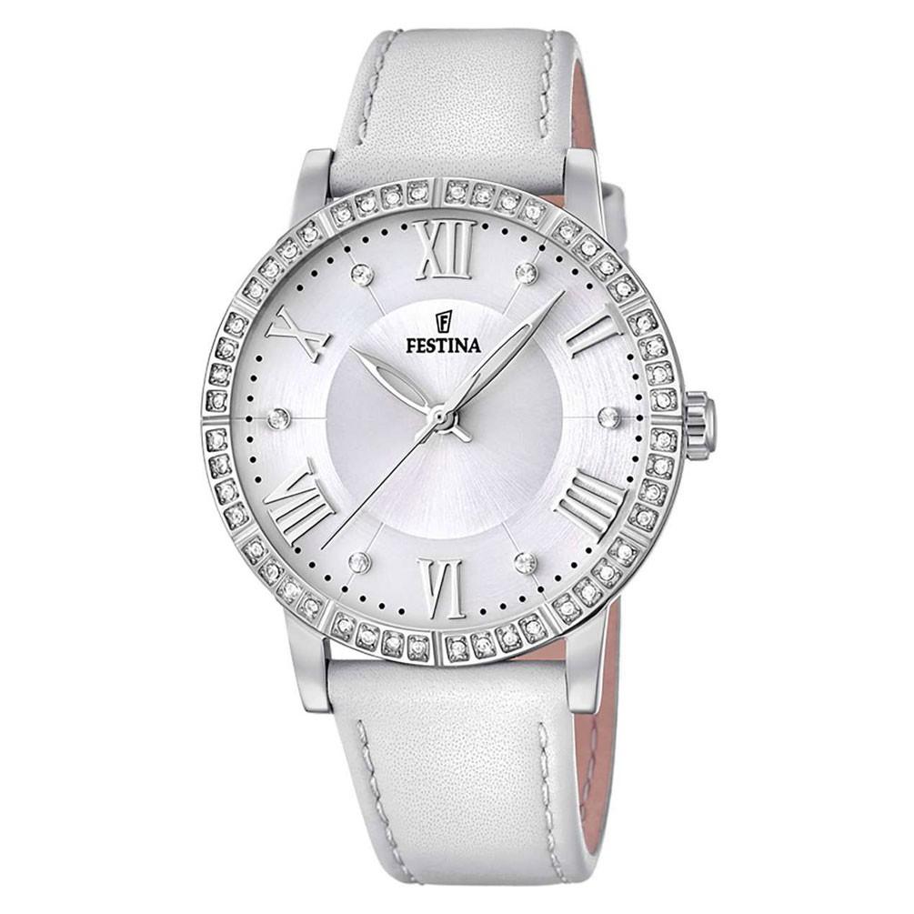 a72ce79da234 Reloj Festina Mujer Multifunción F20412 1 Piel Blanca Acero y circonitas