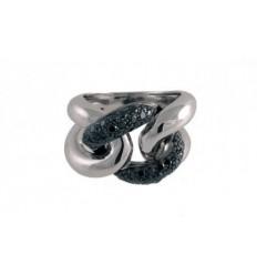 Ring Gold White Black diamonds A14 - 2183:07