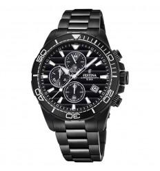 Reloj Festina The Originals Crono F20365 3 Negro brazalete acero negro 2ef6097933aa