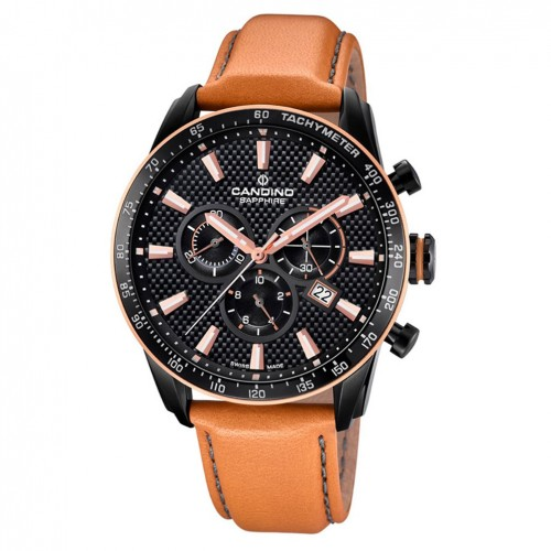 Candino Chrono Men watch C4683/1 Black dial brown leather strap