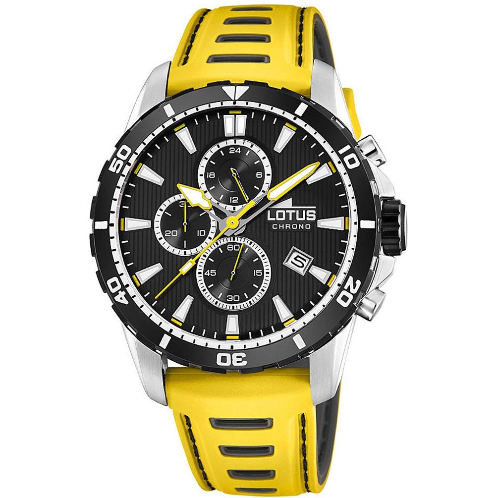 2aeed171dfb1 Reloj Lotus Chronos 18600 1 Esfera negra 44mm correa piel amarilla