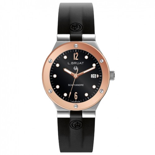 L.Bruat Men watch LB40 SCAPHANDRE pvd rose gold bezel 8409