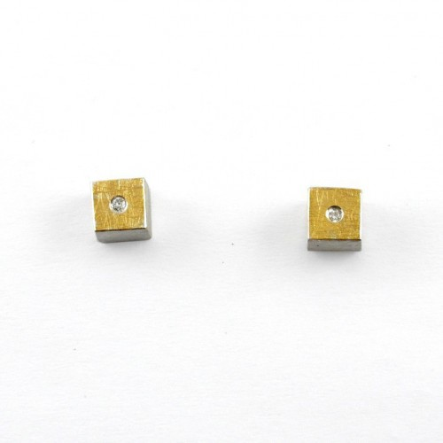 Earrings silver, gold, and diamanates J 1743B