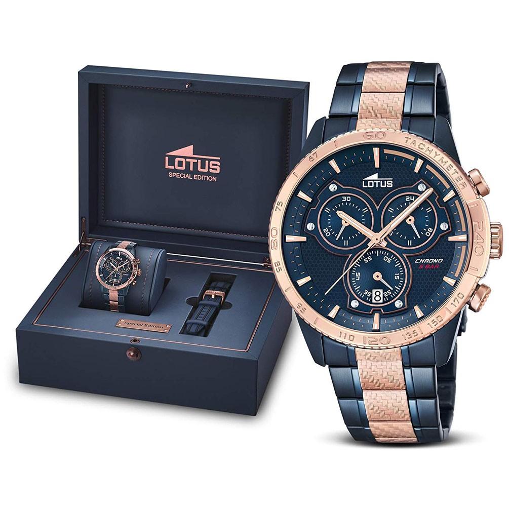bb0603e35939 Reloj Lotus Motor Spirits Hombre 18330 2 Azul bisel oro rosa