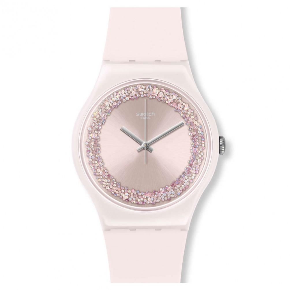 Swatch New Gent Suop110 Pinksparkles Light Pink 41 Mm Silicone