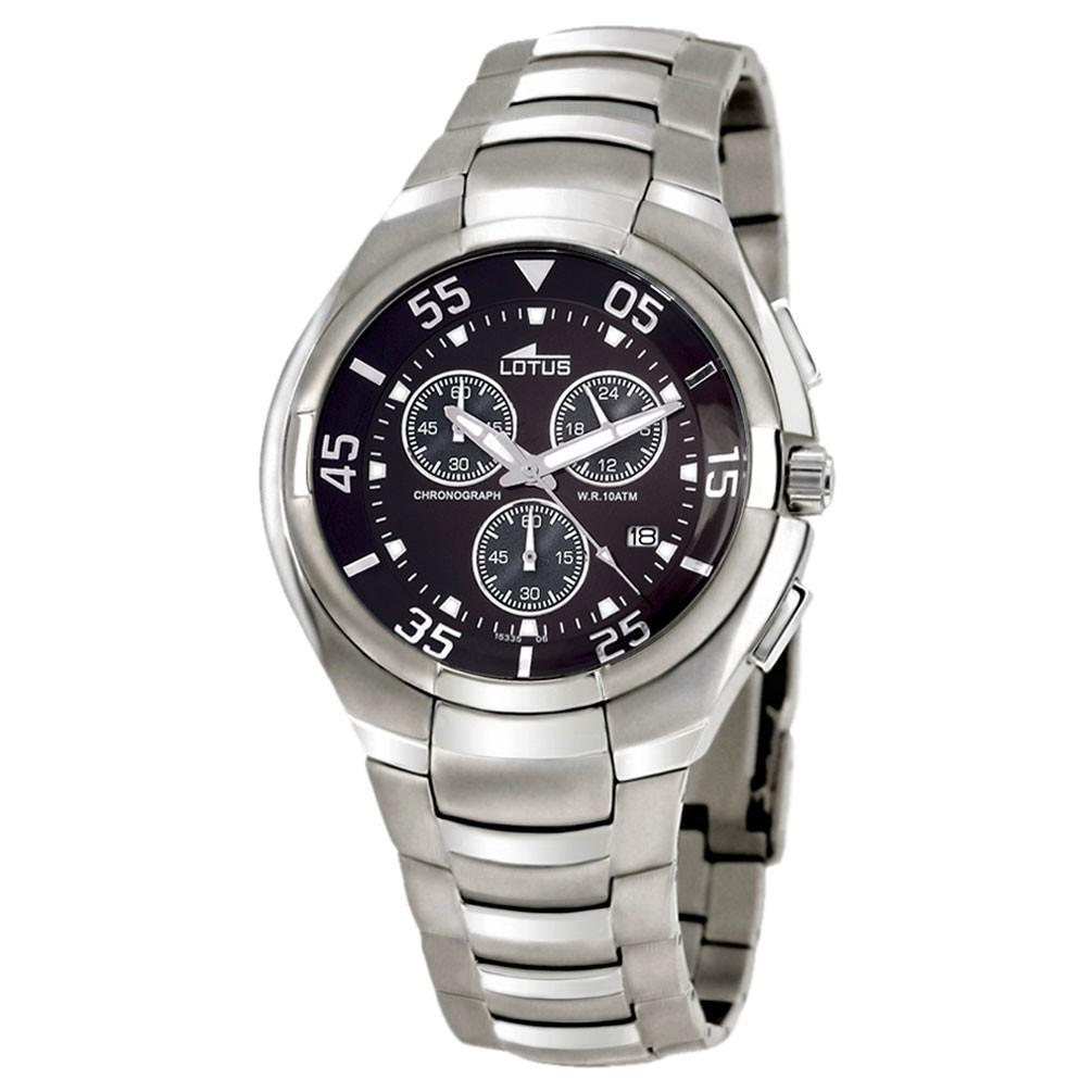 00c647341e00 Reloj Lotus 15335 6 Cronógrafo Esfera negra brazalete acero