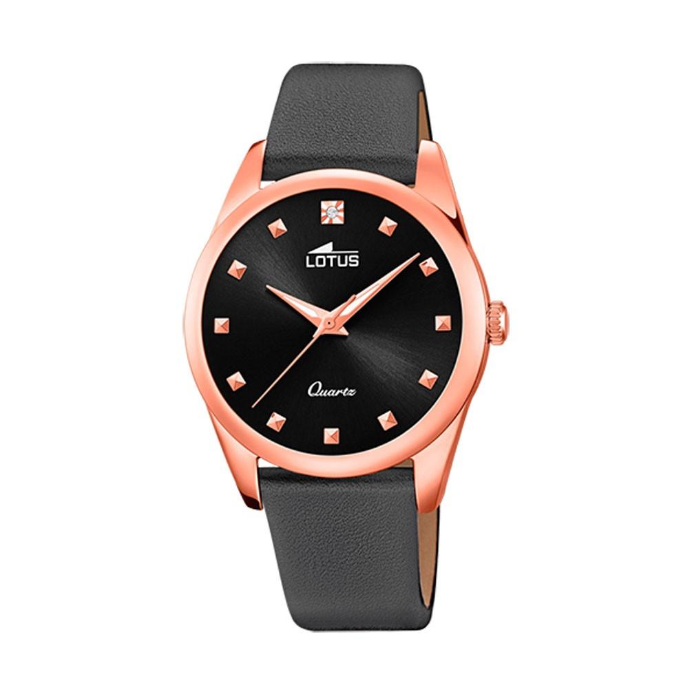 d89585108251 Reloj Lotus Trendy Mujer esfera negra oro rosa correa piel negra 18644 1
