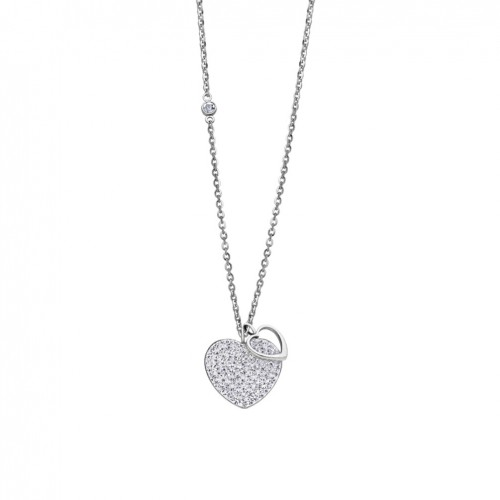 Lotus Style Bliss Heart Necklace in stainless steel with zircons LS1861-1/1