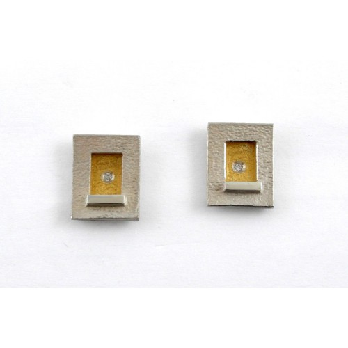 Earrings silver, gold, and diamanates J 1791B