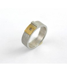 Silver ring, diamond and yellow gold S 1807B
