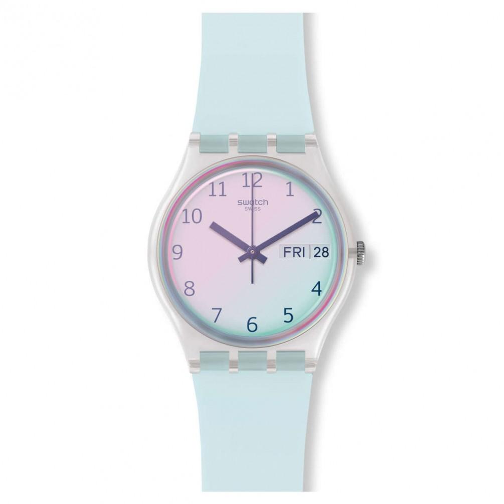 Swatch Original Gent Ultraciel Watch Light Blue And Pink Dial