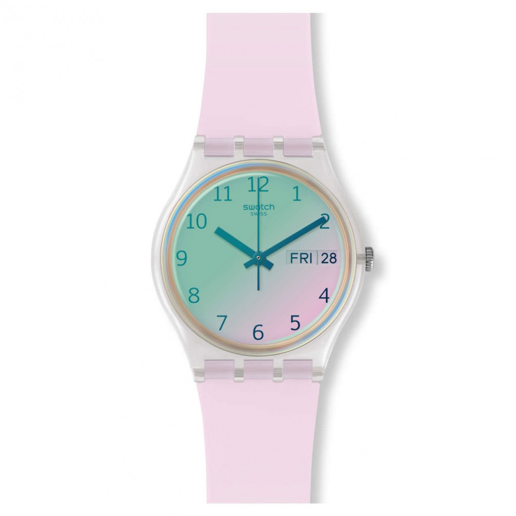 Swatch Original Gent Ultrarose Watch Green And Light Pink Dial