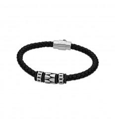 8f1f190443c5 Pulsera Lotus Style Hombre en cuero color negro y acero LS2068-2 2