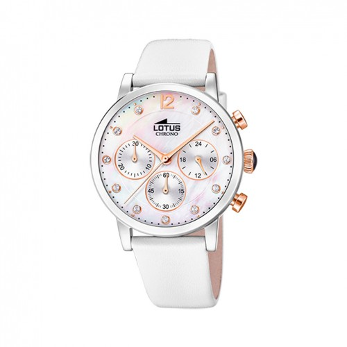 Lotus Trendy Woman watch mother-of-pearl dial white leather strap 18674/1