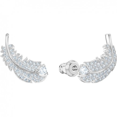 Nice Swarovski leaf earrings white crystals rhodium plating 5482912